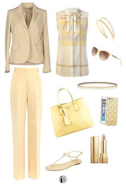 Custard seasonal colors outfit.