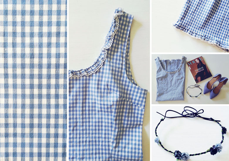 Gingham pattern outfit details.