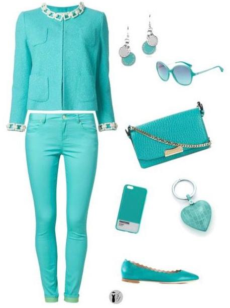 Scuba blue seasonal colors outfit.