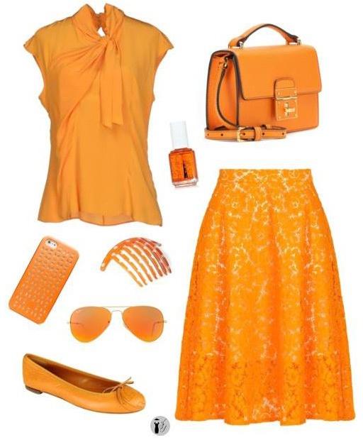 Colori di tendenza Tangerine outfit.