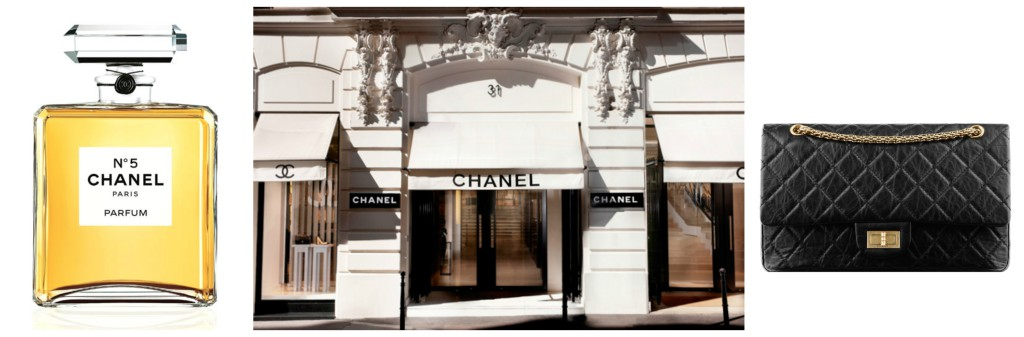 Chanel N°5, Chanel in Rue Cambon 31 Paris and 2.55 bag.