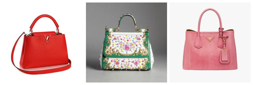 Louis Vuitton, Dolce&Gabbana and Prada bags.