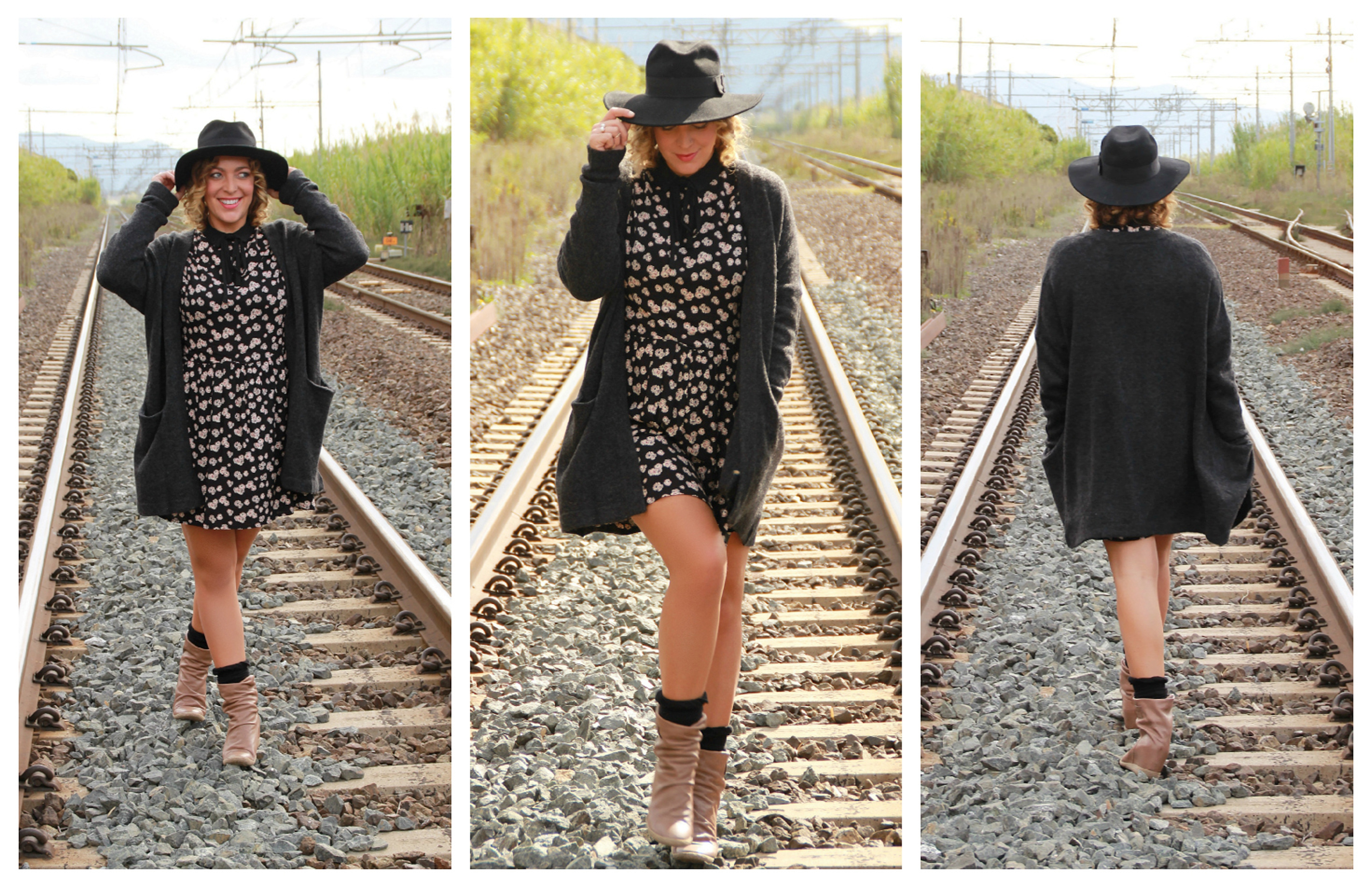 Outfit Fashion Snobber, cardigan H&M, dress River Island, boots Lemaré and hat Asos.