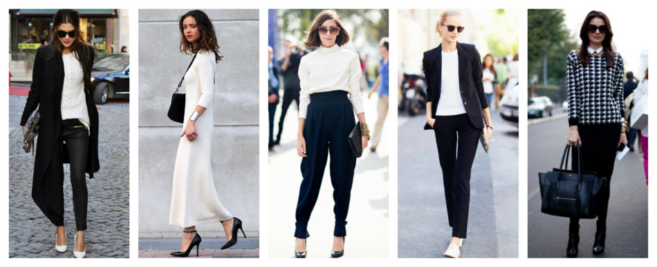 How to wear and match colors black and white.