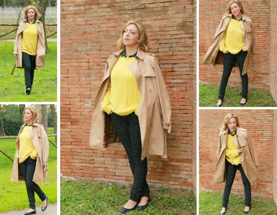 Look stile preppy: trench, tartan, giallo e verde.