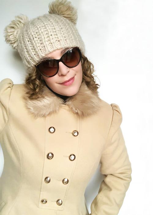 Beanie pom pom hat outfit.