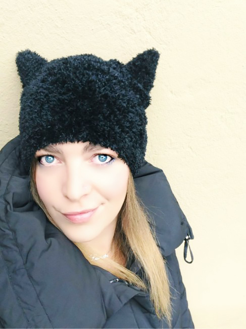 Cappello con orecchie da gatto - Beanie cat ears hat.
