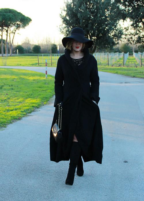 Come indossare il nero in inverno.