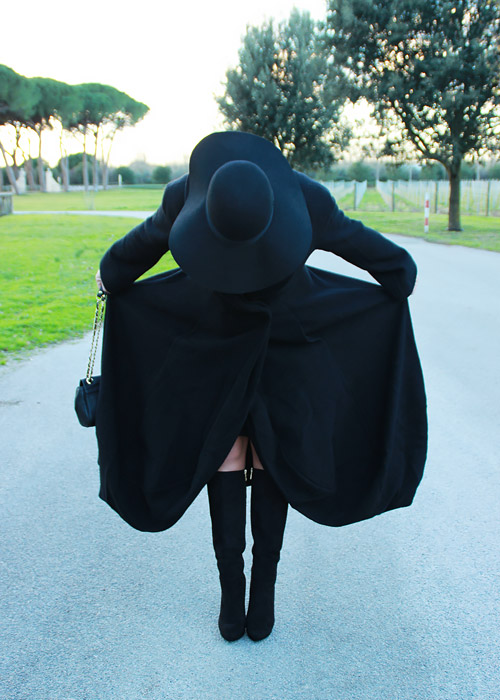 Black coat outfit.