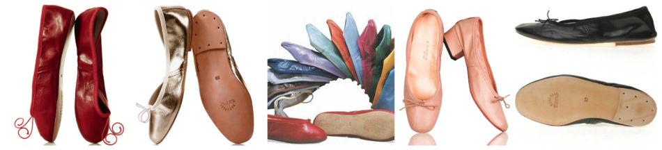 Modelli di scarpe ballerine.