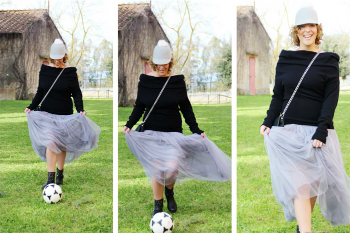 How to play soccer with a long tulle skirt.