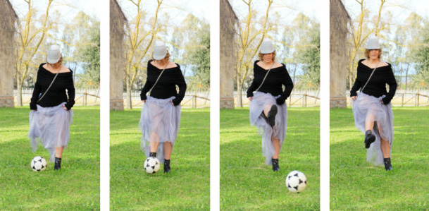 Outfit long tulle skirt for playing soccer.