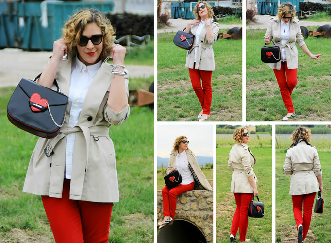 Trench outfit and red pants.