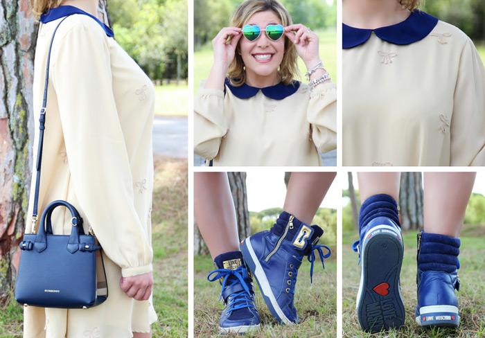 Dettagli outfit mini abito e sneakers.
