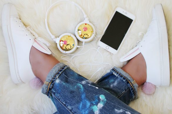 Fashion Snobber. Sneakers Minna Parikka Bunny, jeans Polo Ralph Lauren and headphones Sailor Moon by Bandai.