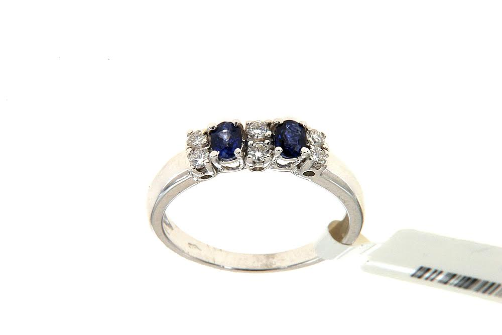 Anello con zaffiri Floris Diamanti - Ring with two sapphires and three brilliant files by Floris Diamanti.