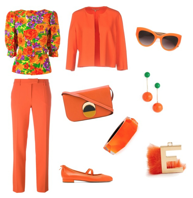 Flame color outfit.