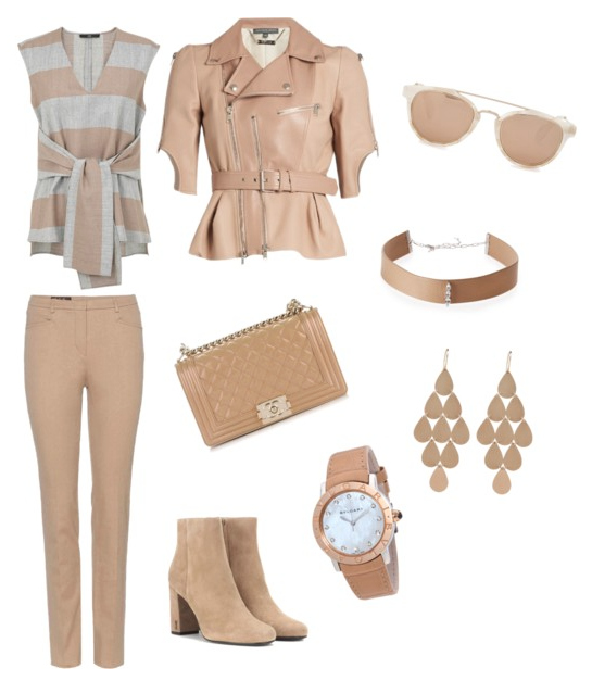 Hazelnut color outfit.