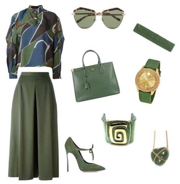 Kale color outfit.