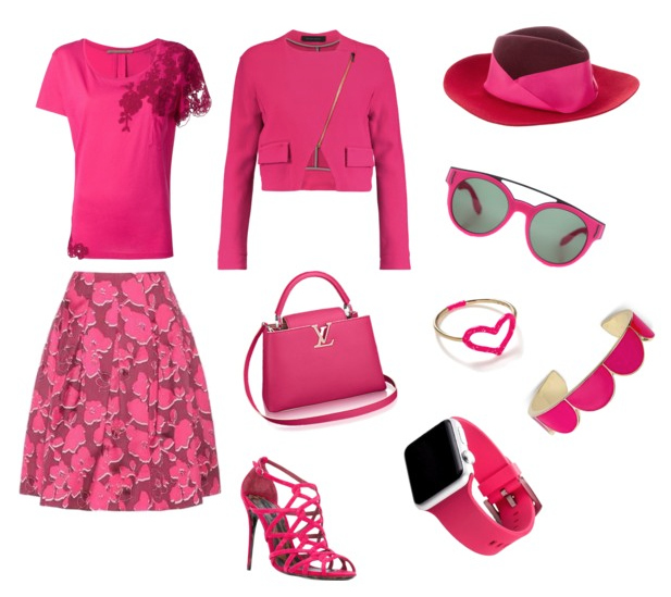 Pink Yarrow color outfit.