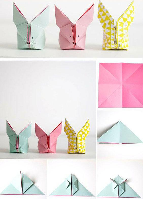 Idea fai da te origami coniglio di Pasqua - DIY Easter bunny idea.