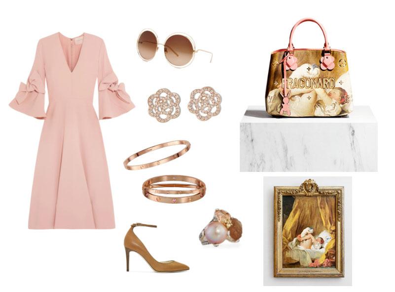 Ispirazione outfit borsa La Gimblette di Fragonard Louis Vuitton e Jeff Koons collezione Masters.