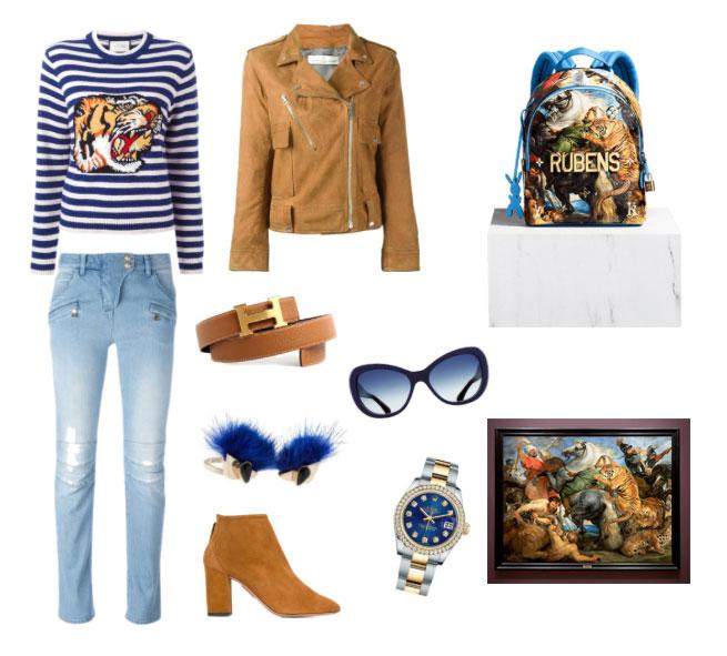 Ispirazione outfit Louis Vuitton e Jeff Koons borsa Caccia alla tigre di Rubens.