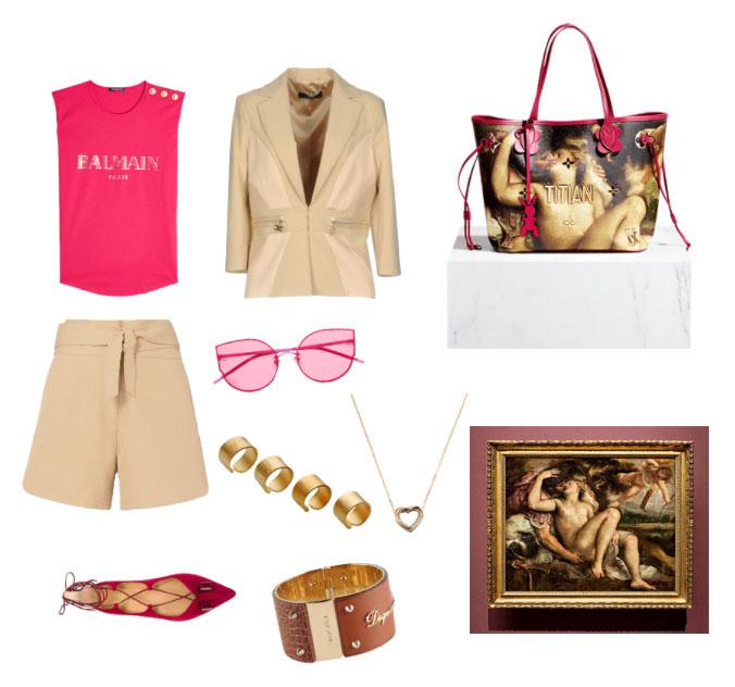 Ispirazione outfit borsa dipinto di Tiziano Louis Vuitton e Jeff Koons collezione Masters.