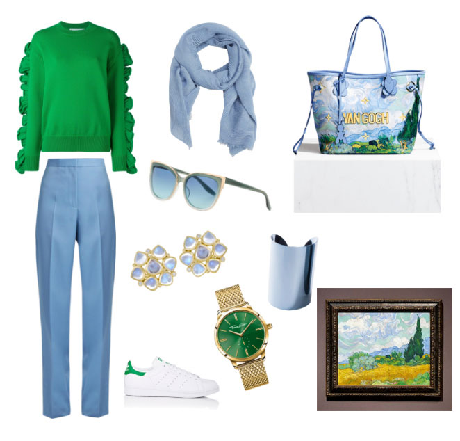Louis Vuitton and Jeff Koons Van Gogh bag outfit inspiration.