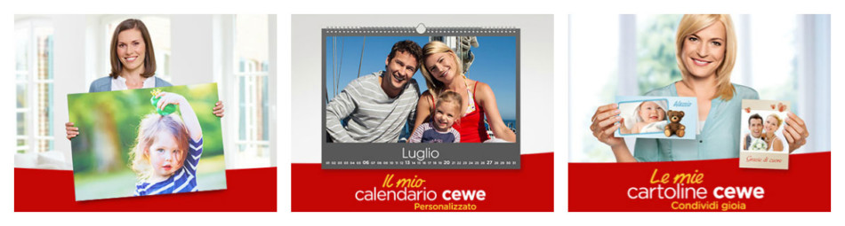 Tanti fotoprodotti da personalizzare su CEWE - Photoproducts to be customized by CEWE.