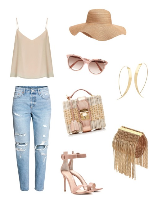 Boyfriend jeans outfit nude look.