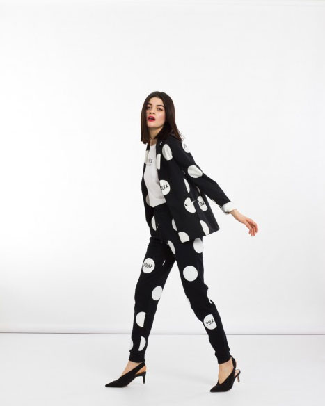 Polka dots blazer and pants Silvian Heach.