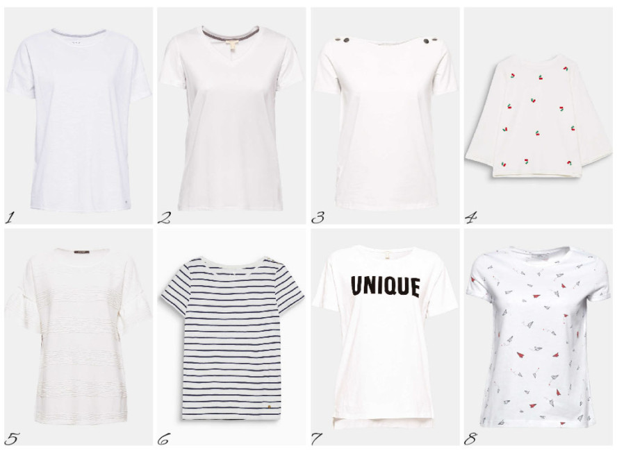 8 modelli indispensabili di t-shirt bianca - 8 essential models of white t-shirt.