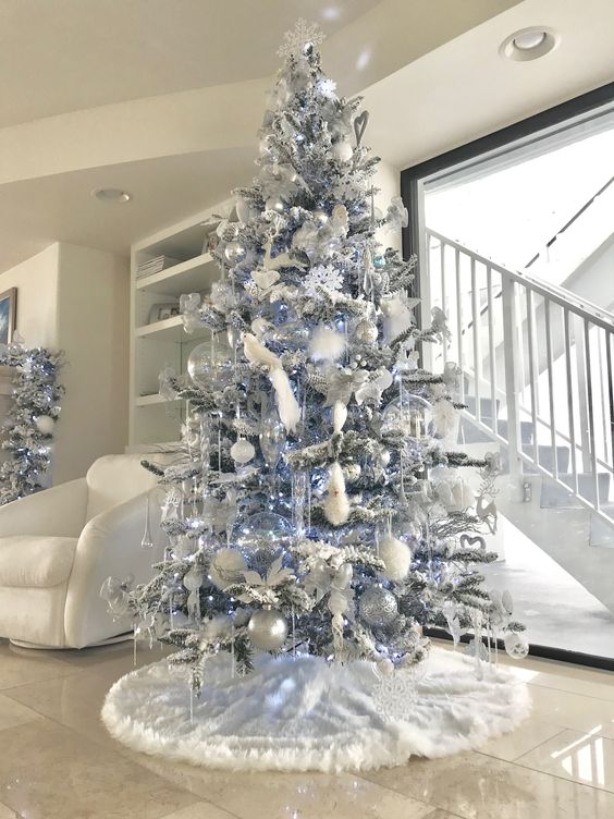 White and silver Christmas tree.