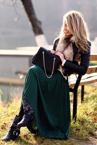 Ankle boots maxi skirt outfit.