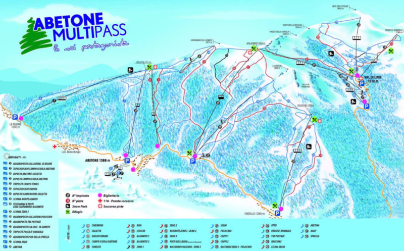 Tutte le piste da sci all'Abetone - All the Abetone ski slopes.