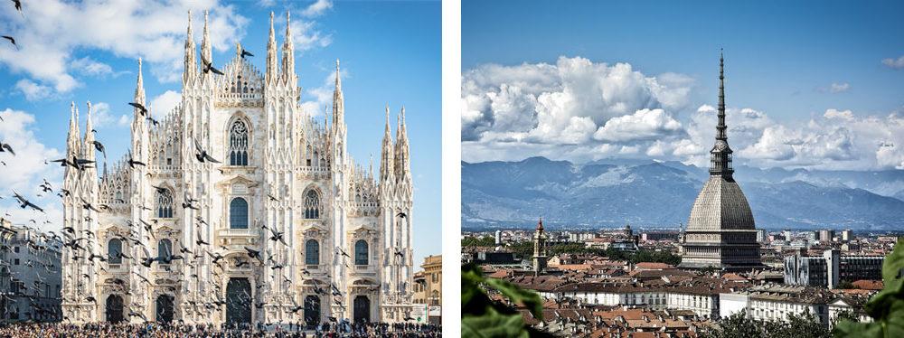 Milano e Torino a confronto - Milan and Turin compared.