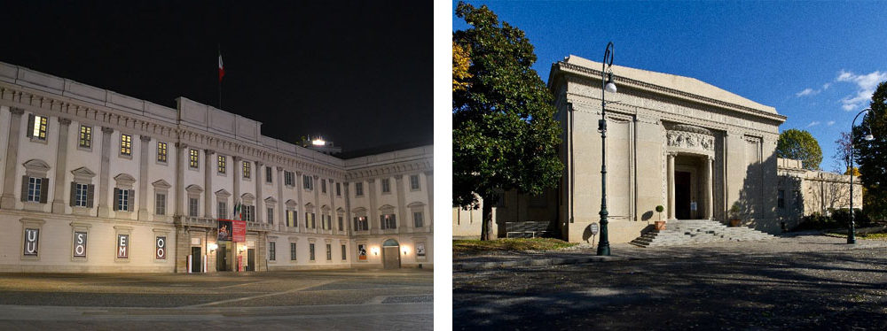 Palazzo Reale a Milano e Palazzina delle belle Arti di Torino come migliori sedi per mostre ed esposizioni.
