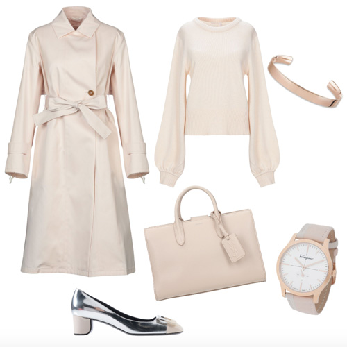 Outfit autunno color crema.