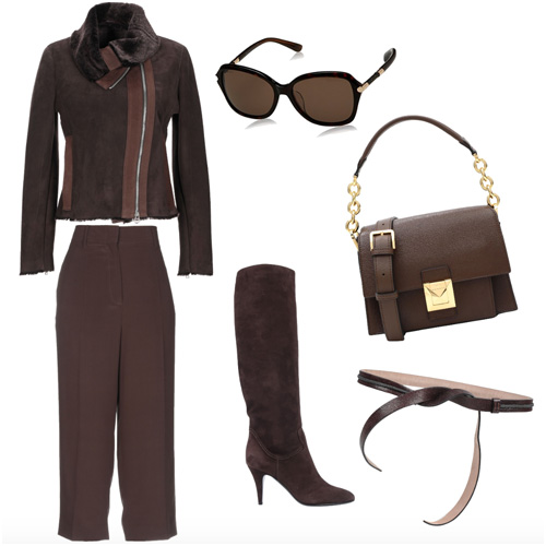 Outfit invernale marrone scuro.