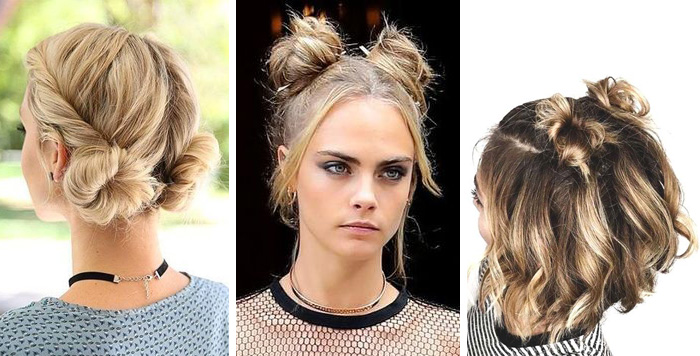 Double buns trendy hairstyles.
