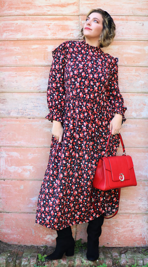 Come indossare abito midi a fiori - How to wear floral midi dress.
