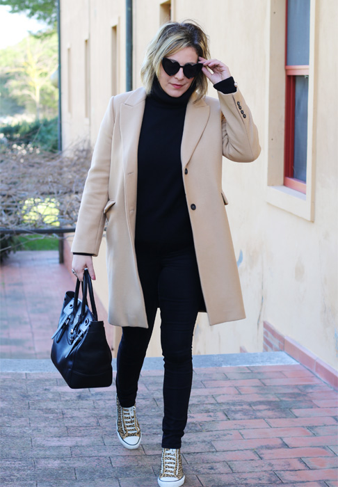 Camel colored coat outfit.