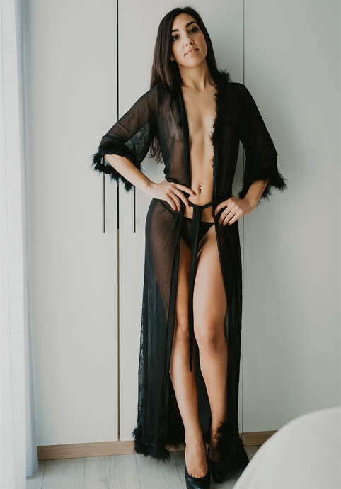 Woman underwear: long transparent dressing gown.