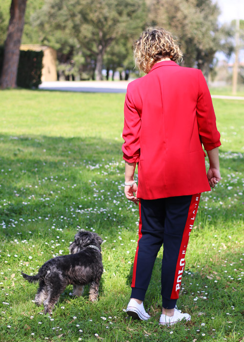 How to wear a suit to walk the dog.