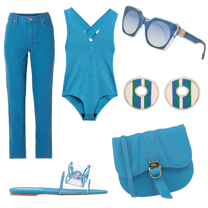 Mosaic blue casual outfit.