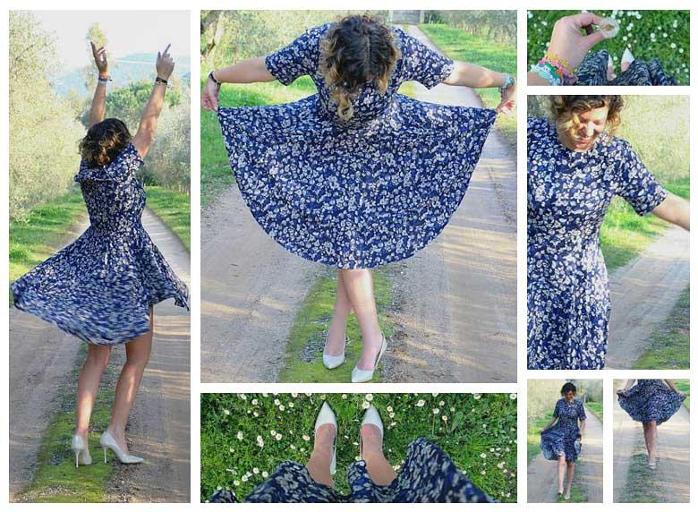 Outfit abito floreale in primavera.