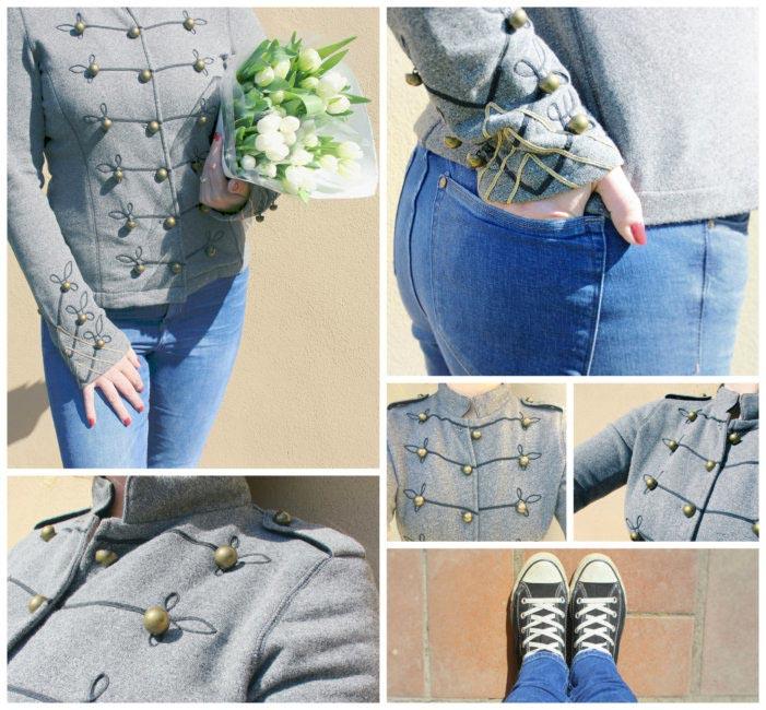 Outfit casual jeans skinny e felpa stile domatore.