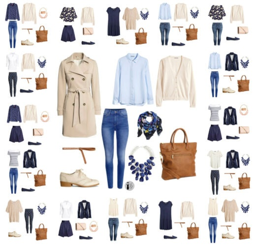 16 different outfits with 16 clothing in a suitcase.