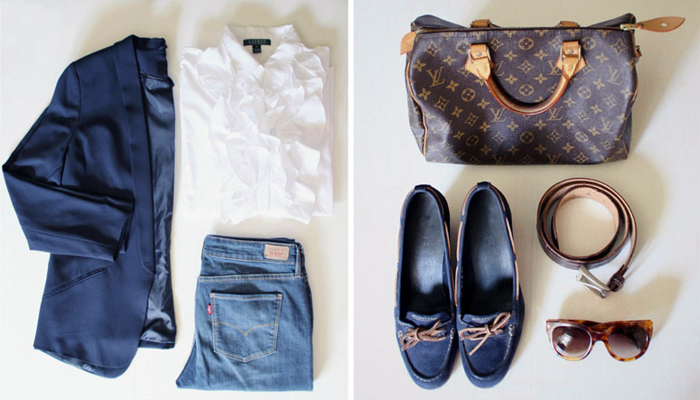 Casual chic outfit details.